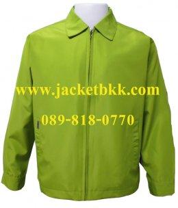 เสื้อแจ็คเก็ตนำเข้า คอปกสีเขียวไพร