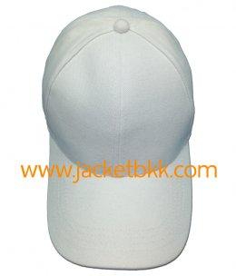 หมวกแก๊ป ผ้าพีช ไม่มีแซนวิช ไม่เจาะรู สีขาว