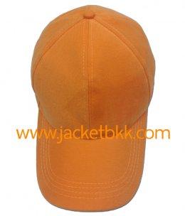 หมวกแก๊ป ผ้าพีช ไม่มีแซนวิช ไม่เจาะรู สีส้ม