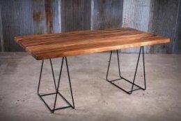 โต๊ะอาหารไม้จริง ขาเหล็ก