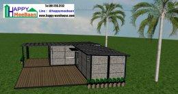 แจกแบบบ้านสำเร็จรูป แบบบ้านน็อคดาวน์ แบบ 3D 2ห้องนอน 1ห้องน้ำ 1ห้องรับแขก