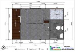 แจกแบบบ้านสำเร็จรูป แบบบ้านน็อคดาวน์ แบบ 3D 1ห้องนอน 1ห้องน้ำ