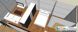 แจกแบบบ้านสำเร็จรูป แบบบ้านน็อคดาวน์ แบบ 3D  1ห้องนอน 1ห้องน้ำ พื้นที่ 26 ตรม.