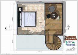 แจกแบบบ้าน บ้านน็อคดาวน์ บ้านสำเร็จรูป รีสอร์ท แบบมีชั้นสองและระเบียงชั้นสอง