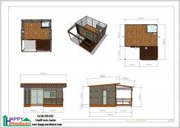 รับสร้างบ้านน็อคดาวน์ บ้านสำเร็จรูป สร้างรีสอร์ท พื้นที่ใช้สอย 32 ตรม.