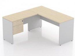 โต๊ะทำงานตัวแอลขาไม้