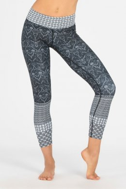 กางเกงโยคะเอวสูง Dharma Bums - Black Free Spirit High Waist Printed Yoga Legging - 7/8