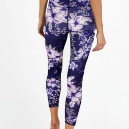 กางเกงโยคะเอวสูง Dharma Bums - Purple Waikiki High Waist Printed Legging - 7/8 (M)