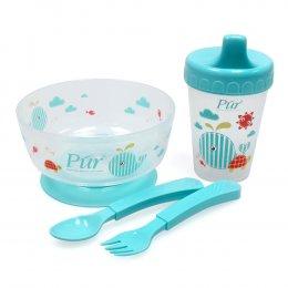 ชุดชามหัดทานอาหารพร้อมถ้วยหัดดื่ม Pur
