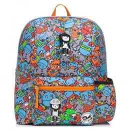 Zip & Zoe กระเป๋าเป้ไปโรงเรียนสำหรับเด็ก ลาย Robots  Blue