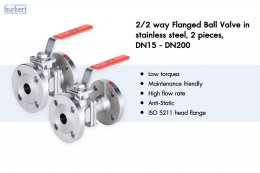 2/2 way Flanged Ball Valve in stainless steel, 2 pieces, DN15 - DN200