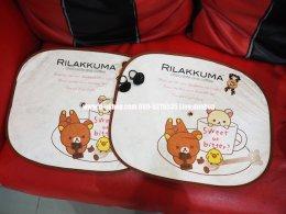 ม่านบังแดดข้างประตูลายการ์ตูน Sweet Rilakkuma แพ็คคู่สำหรับรถทุกรุ่น