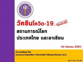 """""""อว. เผยฉีดวัคซีนของไทย ณ วันที่ 24 กันยายน ฉีดวัคซีนแล้ว 47,296,431 โดส และทั่วโลกแล้ว 6,069 ล้านโดส ใน 205 ประเทศ/เขตปกครอง ส่วนอาเซียนฉีดแล้วทุกประเทศ รวมกันกว่า 348.13 ล้านโดส โดยจังหวัดของไทยที่ฉีดมากที่สุด คือ กรุงเทพฯ โดยฉีดวัคซีนเข็มแรกกว่า 9"""