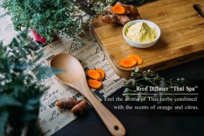 """Reed Diffuser """"Thai Spa"""" Feel the aroma of Thai herbs combined with the scents of orange and citus."""