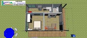 แบบบ้านสำเร็จรูป 1ห้องนอน 1ห้องน้ำ 1ห้องรับแขก 1ห้องครัว