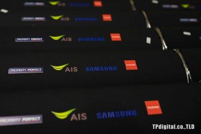 สกรีนโลโก้ลงลำโพงสีดำด้าน  ลายโลโก้ AIS Samsung Mobike Property Perfect