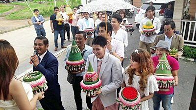 งานวันที่ 19 ก.ค. 61 งานแต่งธีมชมพูขาว พระเช้า งานคุณวีรนันท์
