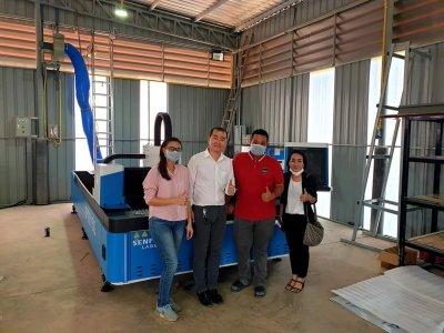 ส่งมอส่งมอบfiber laser ยี่ห้อ SENFENG รุ่น SF3015FL และปั้มลมแรงดันสูง 1.6Mpa./20HP  พิกัด บุรีรัมย์