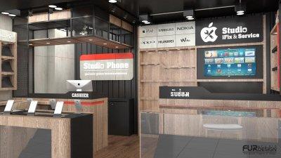 ออกแบบ ร้านจำหน่ายมือถือ Studio Phone สถานที่ : ตึกคอม พลาซ่า จ.อุดรธานี