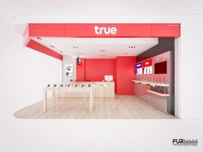 ออกแบบ 3D ร้านจำหน่ายมือถือ True shop สถานที่ : BIG C สัตหีบ  จ. ชลบุรี