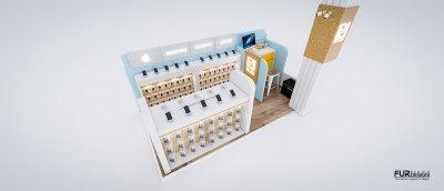 ออกแบบร้านจำหน่ายมือถือ ร้านโฟนโฟน เทสโก้โลตัส อำเภอเสนา จังหวัดพระนครศรีอยุธยา