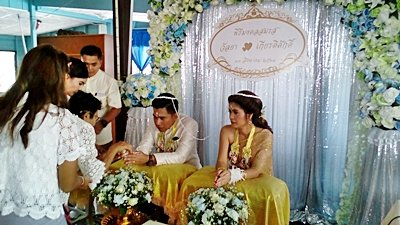 งานวันที่ 13 ส.ค. 61 งานแต่งธีมฟ้าประกายเงิน พระเช้า งานคุณโอ๋