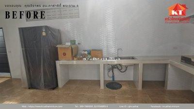 งานติดตั้งบานซิงค์ครัวปูน และตู้ลิ้นชัก ตู้ลอย คุณจิราพร  หมู่บ้านคาซ่าซิตี้  พระราม5