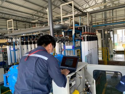 Toray Textiles (Thailand) Public Company  Ltd. Change Touch Screen control at UF Cleaner System water Treatment.