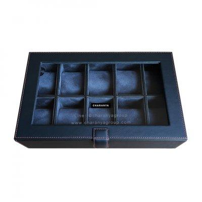 กล่องเก็บนาฬิกา 10 เรือน สีดำ น้ำเงิน Navy Blue หุ้มหนังเย็บเกรดพรีเมี่ยม  Premium 10 Slots Watches Box Storage Organizer จะข้อมือเล็กหรือข้อมือใหญ่ก็รัดสายได้ หมอนนิ่ม ไซส์มาตรฐาน รองรับหน้าปัด 50มม. ใส่นาฬิกาเรือนใหญ่ได้ งานสวย วัสดุดี