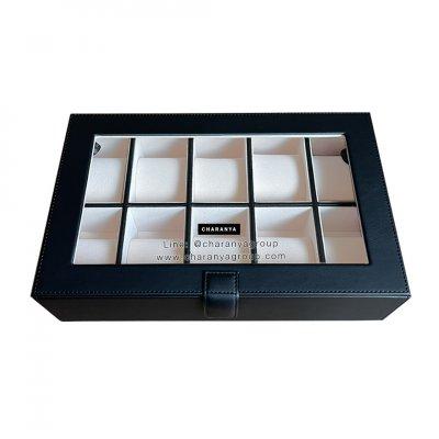 กล่องเก็บนาฬิกา 10 เรือน สีดำ ขาวครีม หุ้มหนังเย็บเกรดพรีเมี่ยม  Premium 10 Slots Watches Box Storage Organizer จะข้อมือเล็กหรือข้อมือใหญ่ก็รัดสายได้ หมอนนิ่ม ไซส์มาตรฐาน รองรับหน้าปัด 50มม. ใส่นาฬิกาเรือนใหญ่ได้ งานสวย วัสดุดี