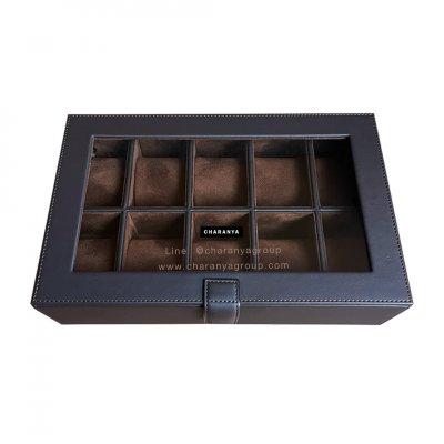 กล่องเก็บนาฬิกา 10 เรือน สีน้ำตาลเข้ม สีช้อค หุ้มหนังเย็บเกรดพรีเมี่ยม  Premium 10 Slots Watches Box Storage Organizer จะข้อมือเล็กหรือข้อมือใหญ่ก็รัดสายได้ หมอนนิ่ม ไซส์มาตรฐาน รองรับหน้าปัด 50มม. ใส่นาฬิกาเรือนใหญ่ได้ งานสวย วัสดุดี