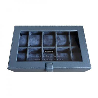 กล่องเก็บนาฬิกา 10 เรือน สีเทา สีน้ำเงิน Navy Blue หุ้มหนังเย็บเกรดพรีเมี่ยม  Premium 10 Slots Watches Box Storage Organizer จะข้อมือเล็กหรือข้อมือใหญ่ก็รัดสายได้ หมอนนิ่ม ไซส์มาตรฐาน รองรับหน้าปัด 50มม. ใส่นาฬิกาเรือนใหญ่ได้ งานสวย วัสดุดี