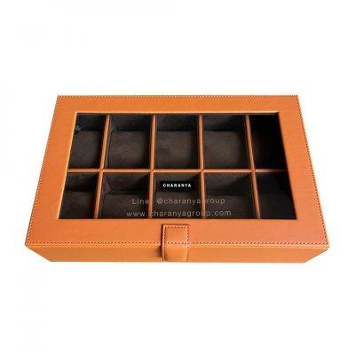 กล่องเก็บนาฬิกา 10 เรือน สีส้ม สีน้ำตาล หุ้มหนังเย็บเกรดพรีเมี่ยม  Premium 10 Slots Watches Box Storage Organizer จะข้อมือเล็กหรือข้อมือใหญ่ก็รัดสายได้ หมอนนิ่ม ไซส์มาตรฐาน รองรับหน้าปัด 50มม. ใส่นาฬิกาเรือนใหญ่ได้ งานสวย วัสดุดี