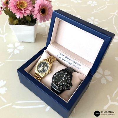 กล่องใส่นาฬิกา 1 เรือน สีน้ำเงิน วัสดุดีเกรดพรีเมี่ยม กล่องนาฬิกาแบรนด์ สั่งทำกล่องนาฬิกา ทำโลโก้กล่องนาฬิกา