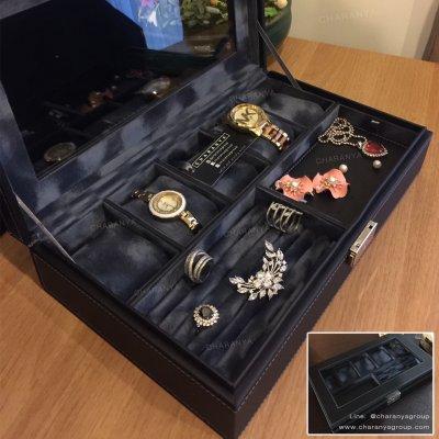 กล่องเก็บเครื่องประดับ กล่องเก็บนาฬิกา สีกรมท่า มีช่องใส่แหวน และช่องใส่เครื่องประดับต่าง ๆ พร้อมกุญแจล็อค หรูหรา งานสวย เนื้องานดี ผลิตด้วยวัสดุเกรดดี เนื้องานสวย watch and jewelry Storage