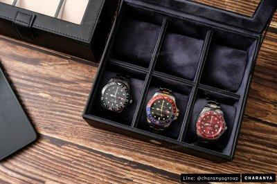 กล่องนาฬิกา กล่องใส่นาฬิกา กล่องเก็บนาฬิกา กล่องสะสมนาฬิกา 6 เรือน อย่างดี เกรดพรีเมี่ยม หมอน 2 ชั้น 2in1 สำหรับคนข้อมเล็ก Black Blue Navy Blue สีดำ สีน้ำเงิน สีกรมท่า เนวี่บลูLine: @charanyagroup TEL: 093-6699642