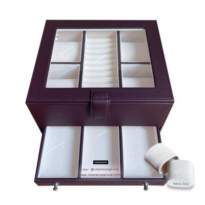 กล่องเครื่องประดับ 2 ชั้น สีแดง เกรดอย่างดี มีหมอนสำหรับคนข้อมือเล็ก สวยพรีเมี่ยม วัสดุดี ควรค่าแก่การใช้งาน