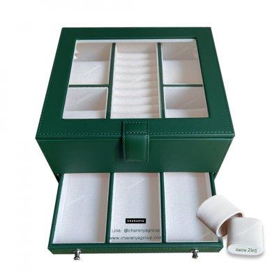 กล่องเครื่องประดับ 2 ชั้น สีเขียว เกรดอย่างดี มีหมอนสำหรับคนข้อมือเล็ก สวยพรีเมี่ยม วัสดุดี ควรค่าแก่การใช้งาน