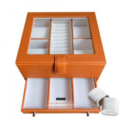 กล่องเครื่องประดับ 2 ชั้น สีส้ม เกรดอย่างดี มีหมอนสำหรับคนข้อมือเล็ก สวยพรีเมี่ยม วัสดุดี ควรค่าแก่การใช้งาน