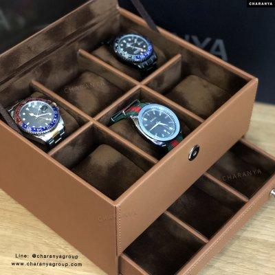 กล่องใส่นาฬิกา 9 เรือน 2 ชั้น ลิ้นชัก หุ้มหนังและกำมะหยี่อย่างดี เกรดพรีเมี่ยม หรูหรา ใช้งานได้นาน สีน้ำตาล