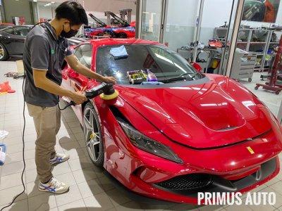 ขัดฟื้นฟูสภาพสีรถ Ferrari F8 Tributo ด้วยผลิตภัณฑ์ 3D Car Care และเครื่องขัดสีรถ Shine Mate รุ่น EX620