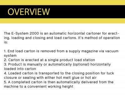 Cartoning Machine รุ่น E-System 2000 ( horizontal cartoner)