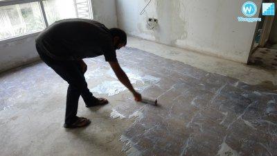 ปรับพื้น Self Leveling งานคอนโดเก่า เพื่อปูพื้นปาเก้