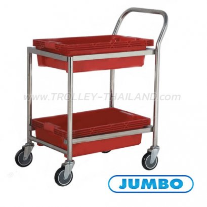 A061100001 รถเข็นลังพลาสติก 2 ชั้น (สีแดง)