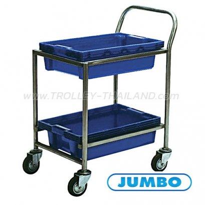 A061100002 รถเข็นลังพลาสติก 2 ชั้น (สีน้ำเงิน)