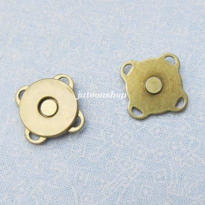 กระดุมแม่เหล็กแบบเย็บ สีทองเหลือง ขนาด 14 มม. (แบบบาง)