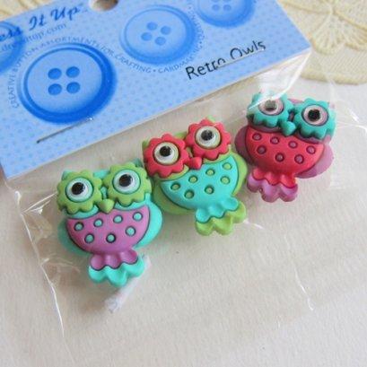 กระดุมแฟนซี Retro Owls