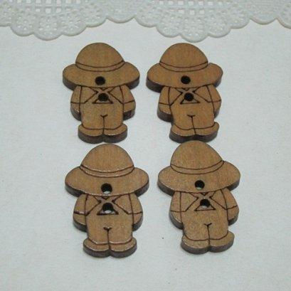 กระดุมไม้ รูปน้องแซม (4 ชิ้น/แพ็ค)