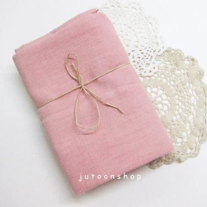 ผ้าคอตต้อนลินินสีพื้น สีชมพู 1/4 เมตร (50 x 70 ซม.)
