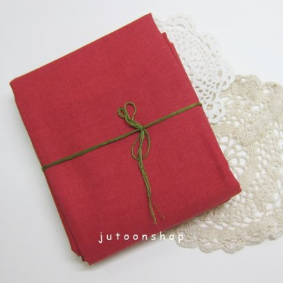 ผ้าคอตต้อนลินินสีพื้น สีแดง 1/4 เมตร (48 x 70 ซม.)
